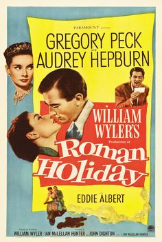 Roman Holiday (1953)  Audrey Hepburn and Gregory Peck.  for Audrey Hepburn it was her first movie and her first academy award now that says something about her awesomeness