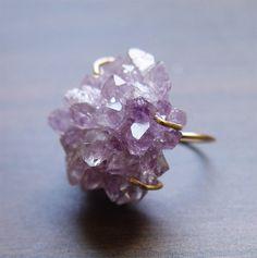 Cristal amatista Druzy anillo 14k oro relleno por friedasophie, $95.00