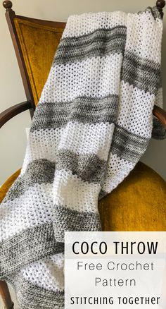 You'll love this easy crochet throw that'll look great in your modern living room. You only need to know how to hdc and v stitch! Crochet Stitches For Blankets, Easy Crochet Blanket, Crochet Hooks, Crochet Throw Pattern, Afghan Crochet Patterns, Modern Crochet Patterns, V Stitch Crochet, Crochet Gratis, Crochet Afgans