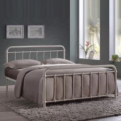 The cream metal Arabella king size bed frame has a traditional shape that resembles a vintage style hospital bed. A modern bed for you to enjoy a brighter tomorrow. Metal Double Bed, White Metal Bed, Double Beds, King Size Bed Frame, Hospital Bed, Beds For Sale, Headboard And Footboard, Metal Beds, Diy Bed