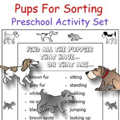 cut out around the puppies and sort them by color, spots/no spots, blue collar/red collar/no collar, and more!  Poster included -- all FREE!