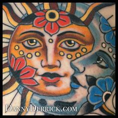 Traditional Native American, butterfly, moth tattoo, rose, panther, script, fox, mandala, ghost girl, sun, moon. By Danny Derrick
