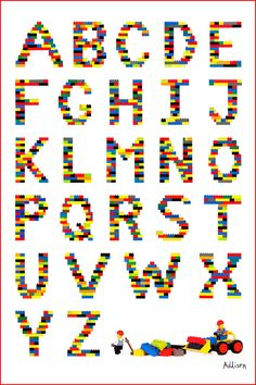 Simple Alphabet Chart. Would be cool to actually make Lego letters and put them in kids room.