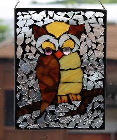 owl  Mosaic Stained Glass  wise OWL SunCatcher or by HildeMosaics
