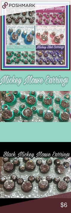 🆕️ MICKEY MOUSE KIDS-SET OF 2 PAIR $6.00 EARRINGS NEW 🆕️MICKEY MOUSE ❣KIDS STUD EARRINGS.2 PAIRS PER ORDER ONLY $6.00. MIX/MATCH YOUR COLOR SETS.                                               COLORED CASING WITH A RHINESTONES TO MAKE UP THE MICKEY SHADE..O SO CUTE                       COLORS:MINT GREEN; BLACK; PINK; PURPLE; AQUA; ROSE.                                     AVAILABILITY: RIGHT NOW 4 SETS IN EACH COLOR. PERFECT SIZE FOR BABIES ALL THE WAY TO THE YOUNG AT HEART.❣PRICE FIRM…
