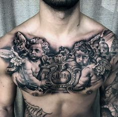 Go big or go home with the best big tattoos for men. From sleeves to full chest pieces, explore giant and over-sized ink design ideas. Chest Piece Tattoo Mens, Chest Tattoos For Women, Back Tattoo Women, Tattoos For Guys, Angel Tattoo Designs, Tattoo Sleeve Designs, Angel Tattoo Men, Sleeve Tattoos, Chest Tattoo Angel