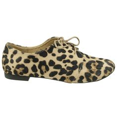 Womens Ballet Flats Leopard Print Oxfords Comfort Lace Up Shoes Brown