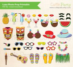 Luau Photo Booth Prop Hawaiian Party Photo Booth by Cutieparty, $6.88
