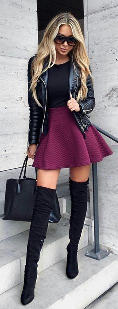 #winter #outfits black leather jacket, black top, maroon skirt, black thigh-high heeled boots and black leather totebag outfit