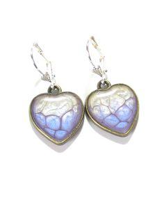 Blue Heart Earrings Hand Painted Resin Jewelry by JKCJewelry