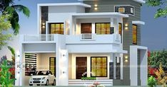 2350 square feet box model contemporary style house plan by Evershine Builders from Kozhikode, Kerala.