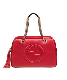 GUCCI Soho Leather Chain Shoulder Handbag'. #gucci #bags #shoulder bags #leather #lining #linen #cotton #