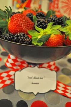 Strawberries & blackberries to contribute to red & black theme