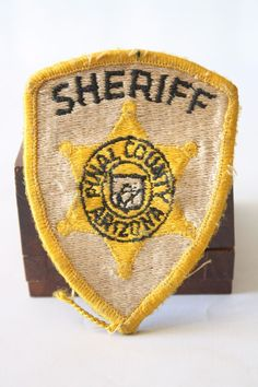 Vintage #Sheriff Pinal County Arizona Police Embroidered Patch Yellow/Gold Star
