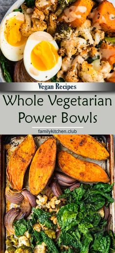 Easy and healthy Vegetarian Power Bowl. Low carb, packed with roasted veggies, with a creamy and delicious dressing. Top with a soft boiled egg for a filling, high protein vegetarian meal! Whole 30 Vegetarian, High Protein Vegetarian Recipes, Veggie Recipes, Healthy Recipes, Chicken Recipes, Keto Recipes, Easy Vegetarian Meals, Vegan Whole30 Recipes, Vegetarian Bowl
