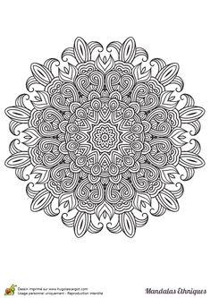 Coloriage mandala ethnique, fleur de lys - Hugolescargot.com