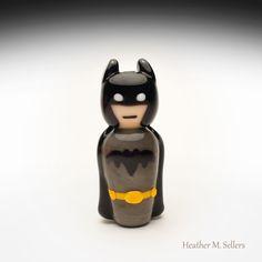 Batman, a lampwork glass doll by Heather Sellers.  #batman #heathersellers #glass #bead