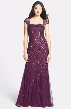 Awesome Amazing Adrianna Papell Embellished Mesh Mermaid Gown Dress 10P 2018