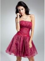 A-Line-Princess Strapless Short-Mini Organza Cocktail Dress With Ruffle