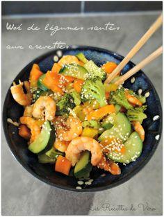 Wok of sautéed vegetables with shrimps - cuisine - Asian Recipes Asian Recipes, Gourmet Recipes, Healthy Recipes, Ethnic Recipes, Wok Recipes, Recipies, Plats Healthy, Sauteed Vegetables, Pasta