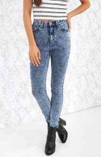 Afends Zeppelin High Waist Skinny Jeans Indigo