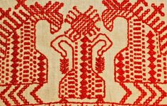Detail of an embroidered Russian ritual towel