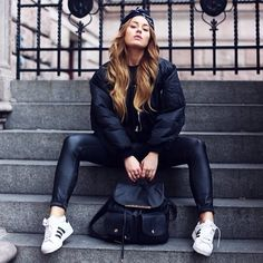 Black on black look by @angelicablicks. Such a good combination with the @adidas originals sneakers! #angelicablick #fashion #design #adidas #originals #wannahaves #startwannahaveyourlife #swyl