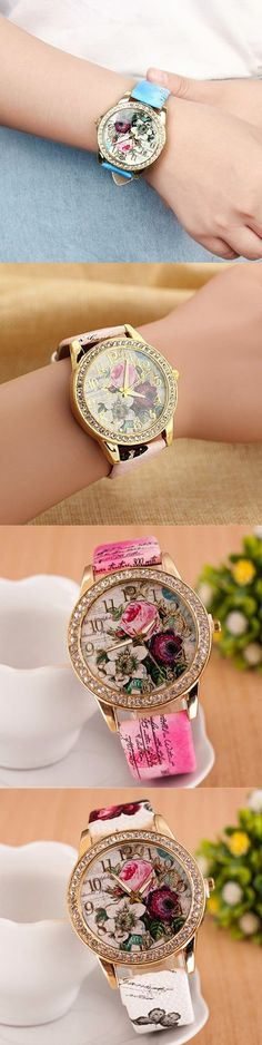 [$ 5.61]   Bohemian PU Leather Rhinestone Flower Watch