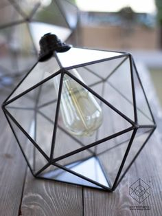 Icosahedron Glass Chandelier / Geometric Pendant Light /Modern Warm Retro Bulb…                                                                                                                                                                                 More