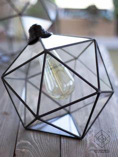 Icosahedron Glass Chandelier / Geometric Pendant Light /Modern Warm Retro Bulb…