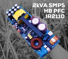 build Switching Mode Power Supply (SMPS) with Half Bridge (HB) topology, with Power Factor Correction (PFC Boost Converter) controller with chip NCP1653 SMD SO-8. PWM Control Circuit using SG3525 and MOSFET driver using IC IR2110. This SMPS can produce output power up to 2200 Watt (peak) Load test at 8 Ohm. Output SMPS 90VDC Symmetrical. Electronics Mini Projects, Power Electronics, Mini Driver, Electronic Schematics, Electronic Circuit, Switched Mode Power Supply, Power Supply Circuit, Speaker Plans, Serial Port