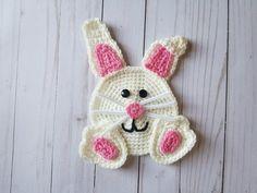 Crochet Bunny Applique PATTERN ONLY Easter rabbit blanket scarf basket bag large embellishment baby child children holiday Spring Crochet Flower Patterns, Applique Patterns, Crochet Motif, Crochet Flowers, Baby Applique, Hand Crochet, Scarf Patterns, Applique Designs, Knitting Patterns