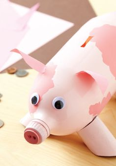Kids will love making these cute DIY animal banks out of 2 liter bottles!