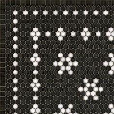Black And White Bathroom Floor, Black Tile Bathrooms, Vintage Bathrooms, Penny Tile Floors, Penny Round Tiles, Vinyl Floor Mat, Floor Cloth, Me Time, Mosaic