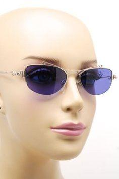MARTINE SITBON MARTINE SITBON Polished Silver Ornate Frame Sunglass w/ Blue Lens Ex Cond RARE
