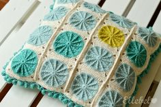 Cute pillow with links to patterns she used