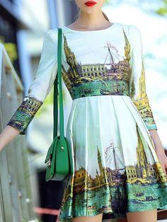 NEW WOMENS O&Y Printed Vintage Mini dress STYLEWE Venice Italy WHITE MULTI M 2-4