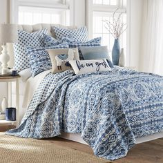 Lillian Quilt Set | Kohls King Quilt Sets, Queen Quilt, Twin Quilt, Bohemian Design, Blue Quilts, High Fashion Home, Cotton Quilts, Bedroom Decor, Blue And White