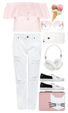 """""""White Jeans"""" by rasa-j ❤ liked on Polyvore featuring Topshop, Karl Lagerfeld, Edit, Valentino, Michael Kors and Frends"""
