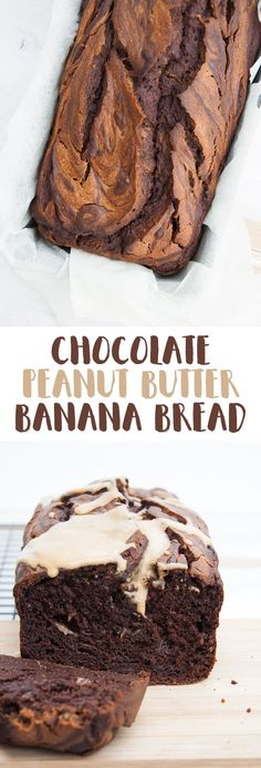 Vegan Chocolate Peanut Butter Banana Bread via (Gluten Free Recipes For Dessert) Peanut Butter Banana Bread, Vegan Banana Bread, Vegan Peanut Butter, Banana Bread Recipes, Chocolate Peanut Butter, Vegan Chocolate, Chocolate Snacks, Overripe Banana Recipes, Chocolate Banana Bread