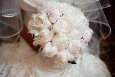 white & pink peony wedding bouquet