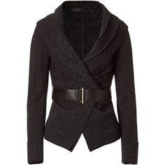 DONNA KARAN Black Belted Stretch Tweed Jacket
