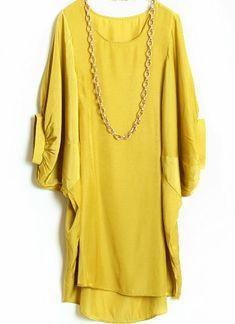 #SheInside Yellow Batwing Puff Sleeve Loose Dress