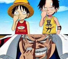 Luffy, Ace et Garp - Anime Ace One Piece, One Piece Comic, One Piece Manga, One Piece Funny, One Piece World, One Piece Fanart, Manga Anime, Anime One, Fanarts Anime
