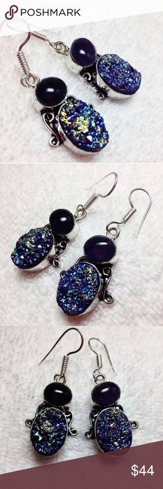 """New! Titanium Druzy (Drusy) + Amethyst earrings Brand New - GENUINE AMETHYST (approx 10 tcw.) + Excellent quality TITANIUM DRUSY (DRUZY) (16+tcw) 925 STERLING SILVER hook earrings - ( fancy oval cabochons )- surrounded on the top half of the bottom station with beautiful scrolls of silversmith work- nice touch! 🎁🎁 Comes with a FREE BRAND NEW """"Thank You"""" gift. 🎁🎁 please check my other listings - many makeup & genuine exotic gemstone jewelry and hard to come by DSCONTINUED products…"""