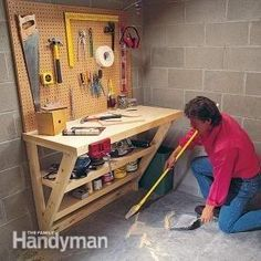 This simple wood work bench is perfect for a garage or utility room, and it takes up almost no floor space. It's also great as a potting bench or laundry table. by Aefio