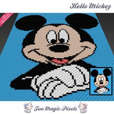 Hello Mickey crochet blanket pattern; c2c, knitting, cross stitch graph; pdf download; no written counts or row-by-row instructions by TwoMagicPixels, $3.79 USD
