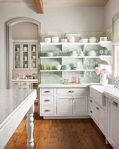 Pretty little mint and blush details take this kitchen to a fresh updated level that I'm obsessed with.  @betterhomesandgardens #ThisKitchenWasMadeForMe