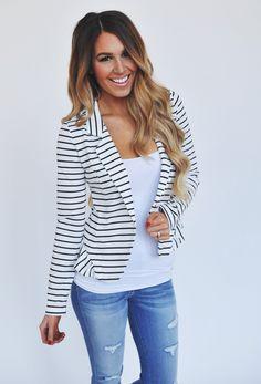 Dottie Couture Boutique - Black/White Striped Blazer , $38.00 (http://www.dottiecouture.com/black-white-striped-blazer/?fullSite=1/)