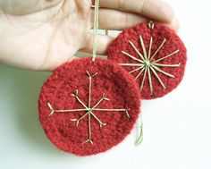 Set of 2 Felted Ornaments in Christmas Red by SproutsPressDesigns, $15.00